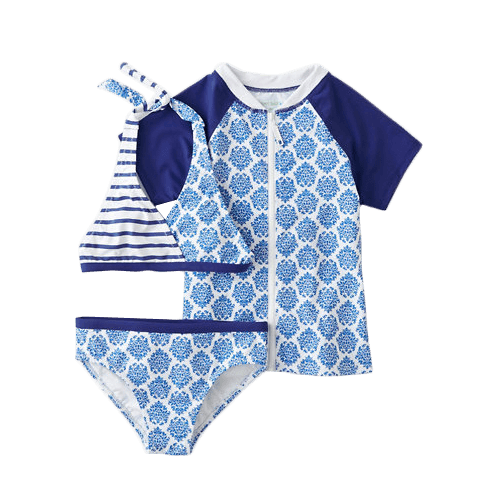 Garnett Hill Girls' Mixed-Print Bikini & Rashguard Set