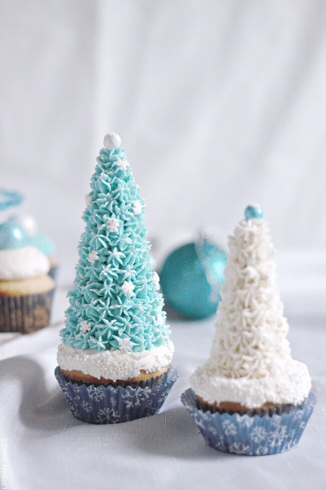 Easy Disney Frozen Cake Ideas - Winter Wonderland Cupcakes by Urban Bakes