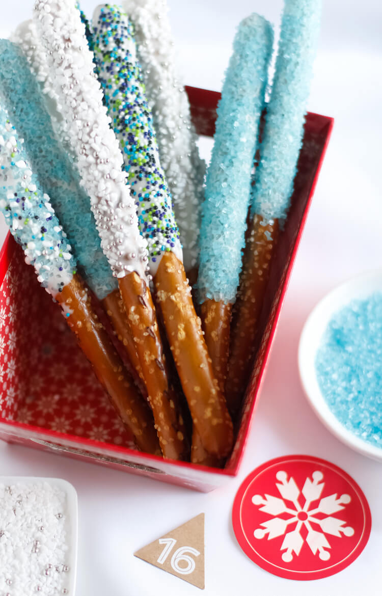 Easy Disney Frozen Treat Ideas - Pretzel Wands by Sprinkle Bakes