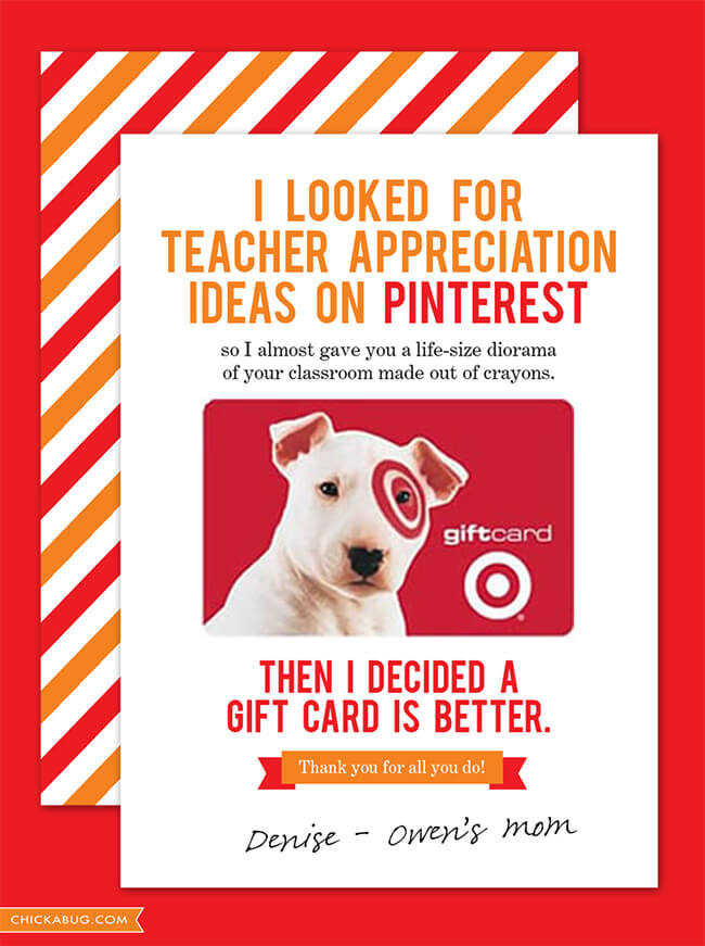 Teacher Gift Card Printables