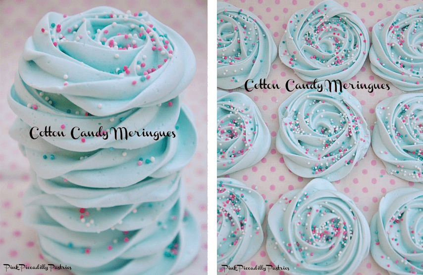 Easy Disney Frozen Dessert Ideas - Cotton Candy Meringues by Pink Piccadilly Pastries