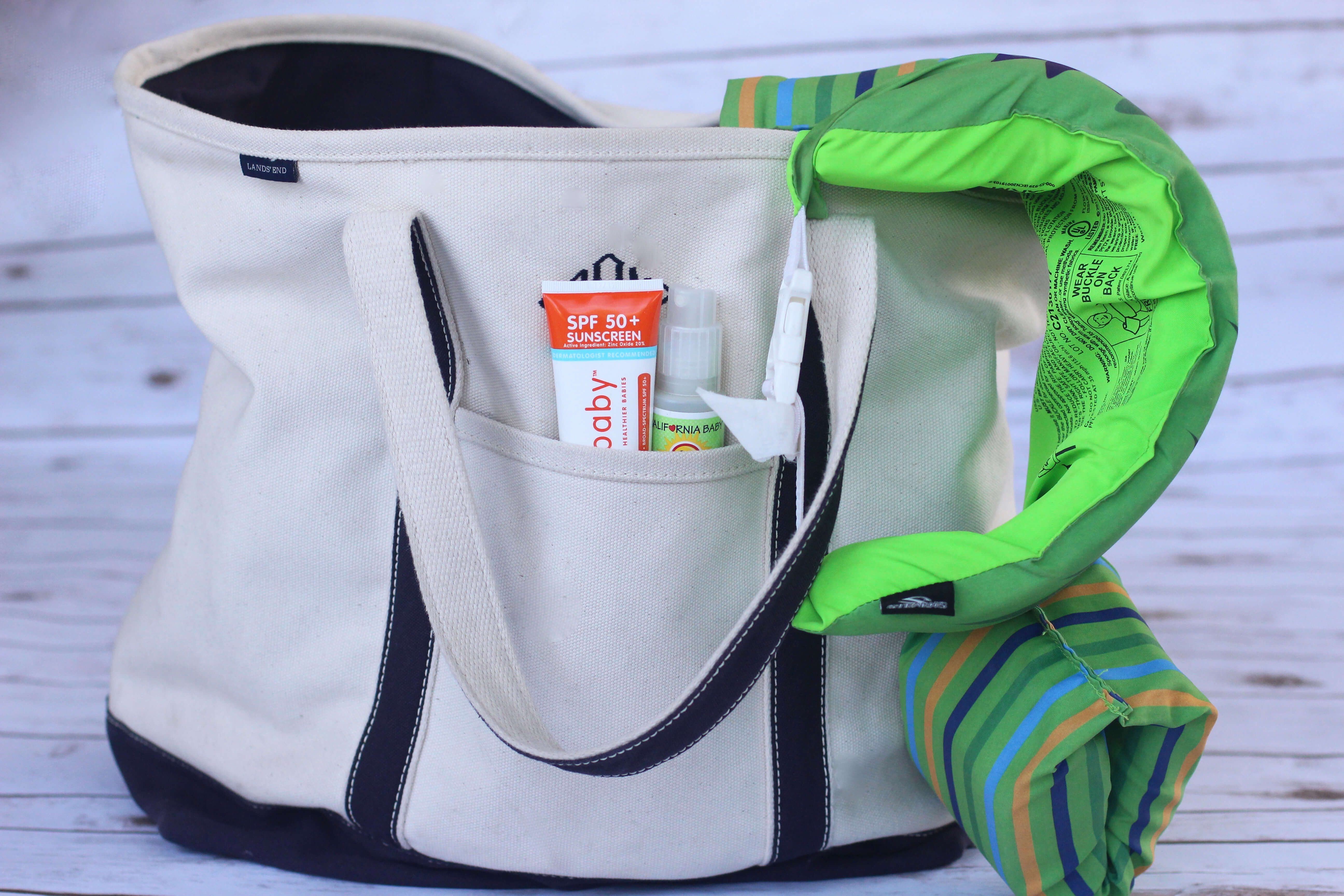 Beach Guide with Kids - Tips and Tricks. LandsEnd Extra-Large Canvas Beach Tote.
