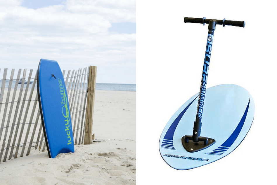 Beach Guide with Kids. Lucky Bums Body Board. D6 Surf Skimmer Skim Board.