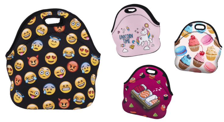 Emoji unicorn sushi neoprene lunch bags for kids and teens | back to school shopping guide
