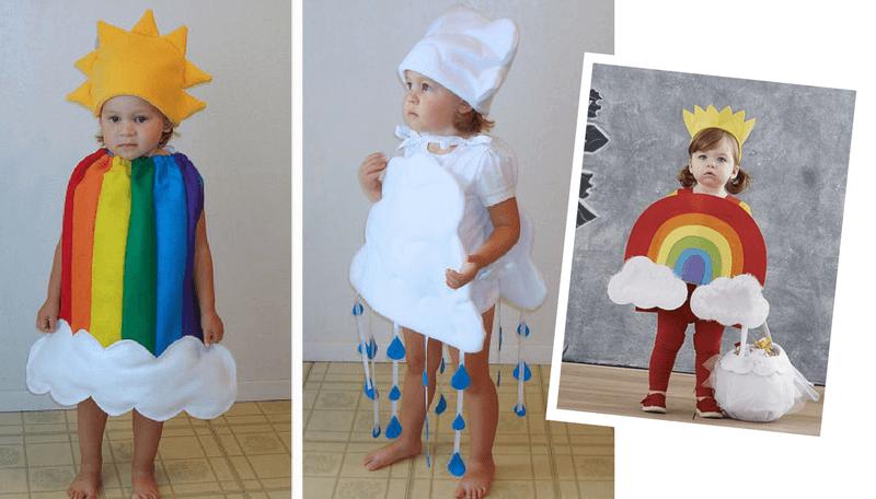 Creative Halloween Costumes for Siblings - Rain cloud and Rainbow