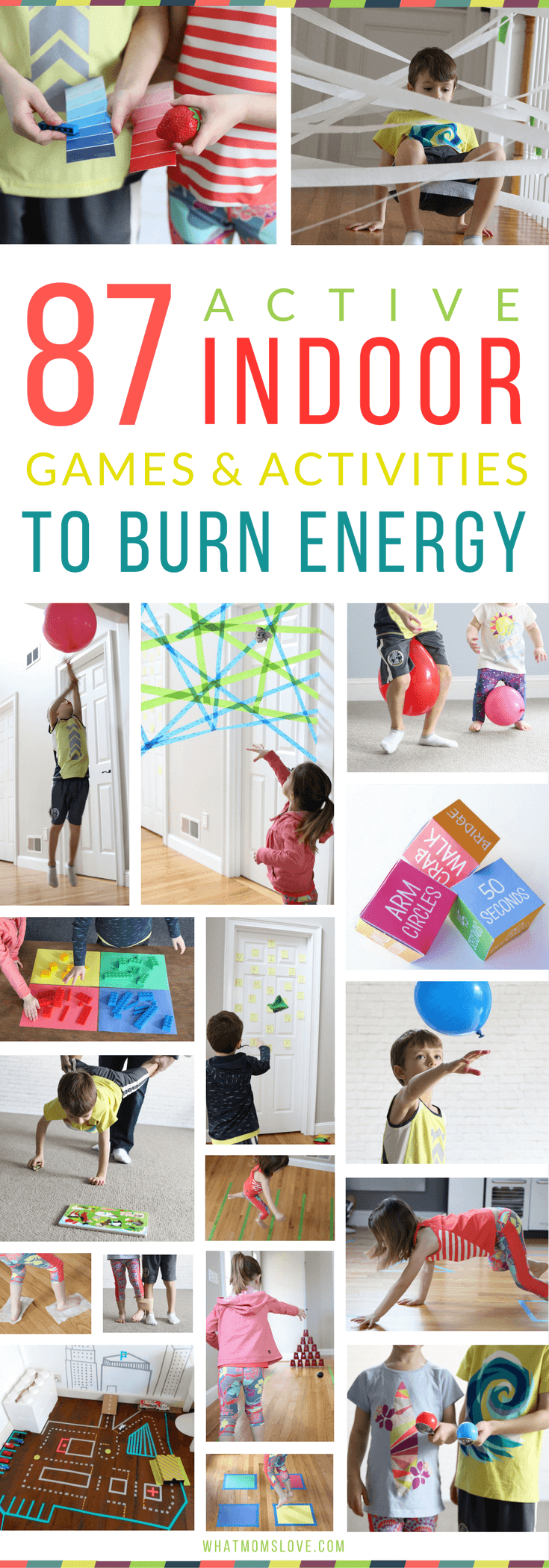 Best Active Indoor Activities For Kids | Fun Gross Motor Games and Creative Ideas For Winter (snow days!), Spring (rainy days!) or for when Cabin Fever strikes | Awesome Boredom Busters and Brain Breaks for Toddlers, Preschool and beyond to get their energy out!