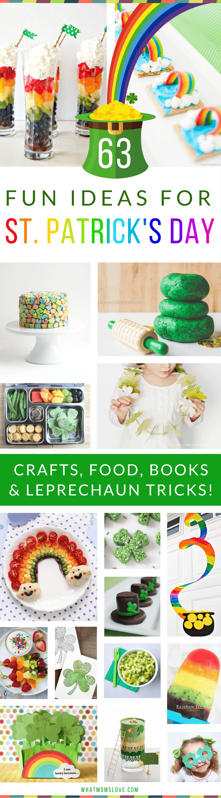The best St Patricks Day Activities for Kids | Fun St. Patty's Crafts, Festive Food and Snacks, Books, Leprechaun tricks and traps, plus more brilliant ideas to celebrate with shamrocks and rainbows galore! Great ideas for toddlers, preschoolers and up. For the full list visit www.whatmomslove.com