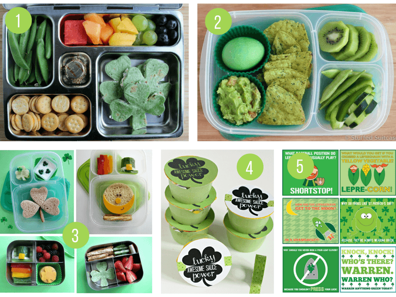 St Patricks Day Lunch Ideas | Green, Shamrock and Rainbow Food Ideas to celebrate St Paddys Day with your kids | Fun St Patricks Day lunch box ideas - including healthy Bento boxes and lunch box jokes!