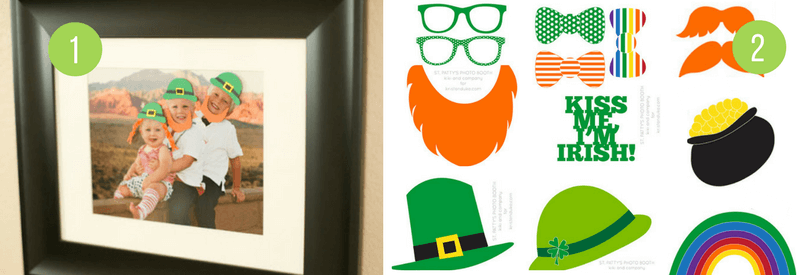 Fun Ideas for kids to celebrate St Patricks Day - Free Printable photo booth props and Leprechaun mischief!
