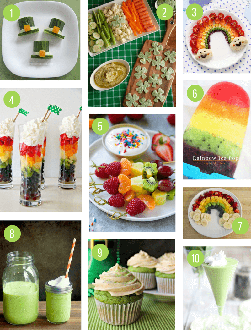 St Patricks Day Healthy Snack Food Ideas for Kids | Fun green, rainbow and shamrock themed food to celebrate St Paddys Day - perfect for a party or an after school snack!