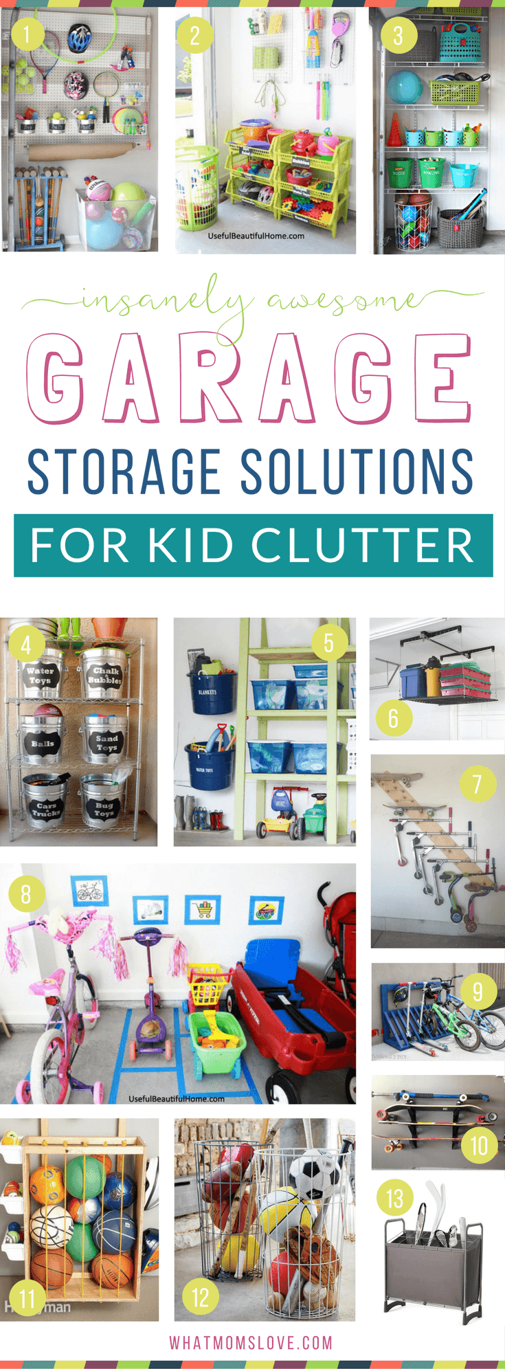 How to organize your garage to eliminate toy clutter | DIY ideas, products, inspiration and tips to create more storage for your kids stuff! Plus hacks and tricks to organize your entire life for a fun summer with your family