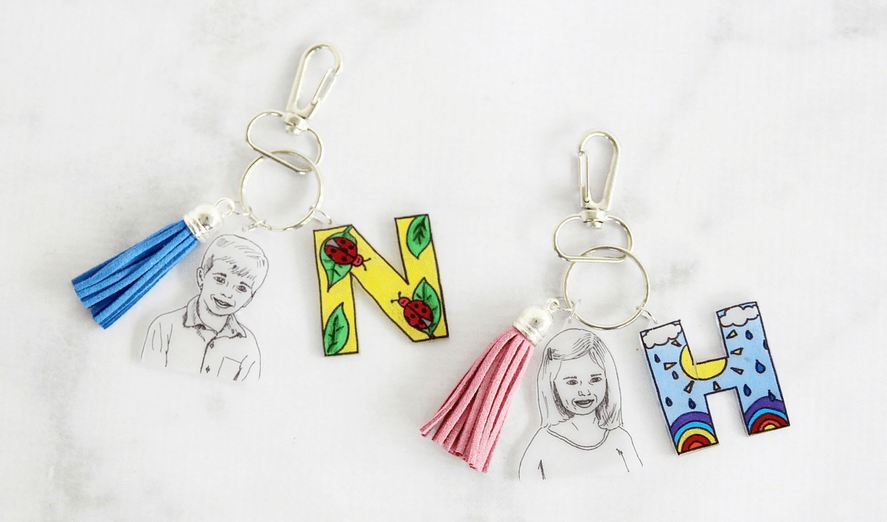 Shrink Film Keepsake Keychain. A Unique DIY Gift For Mom & Grandma To Gush Over This Mother's Day.