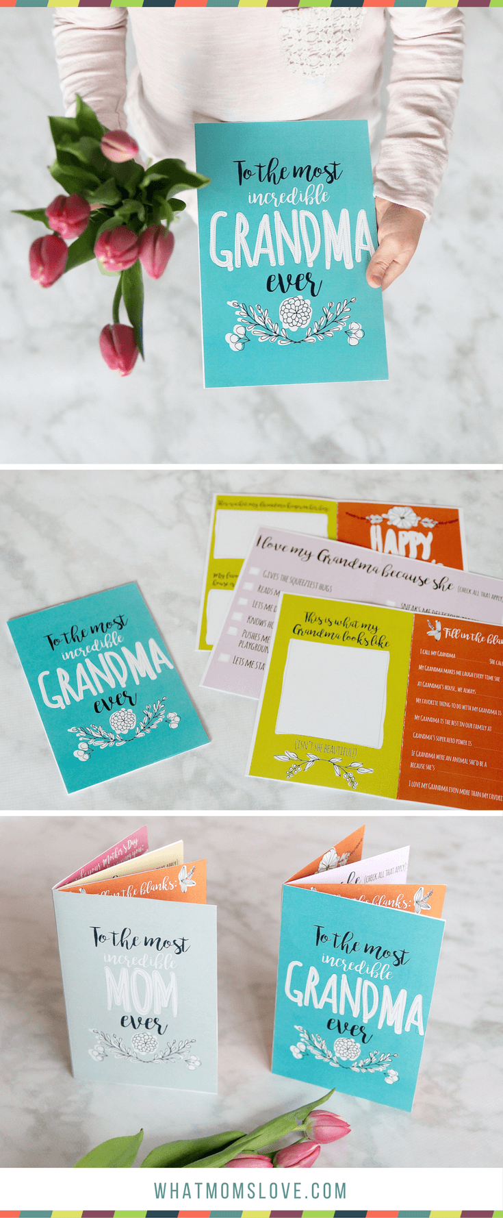 Free Printable Mothers Day Card | All About Mom or Grandma Book for kids to make - includes fun questionnaire, coupons for mom, and space to draw and color. The perfect DIY homemade card - super easy!