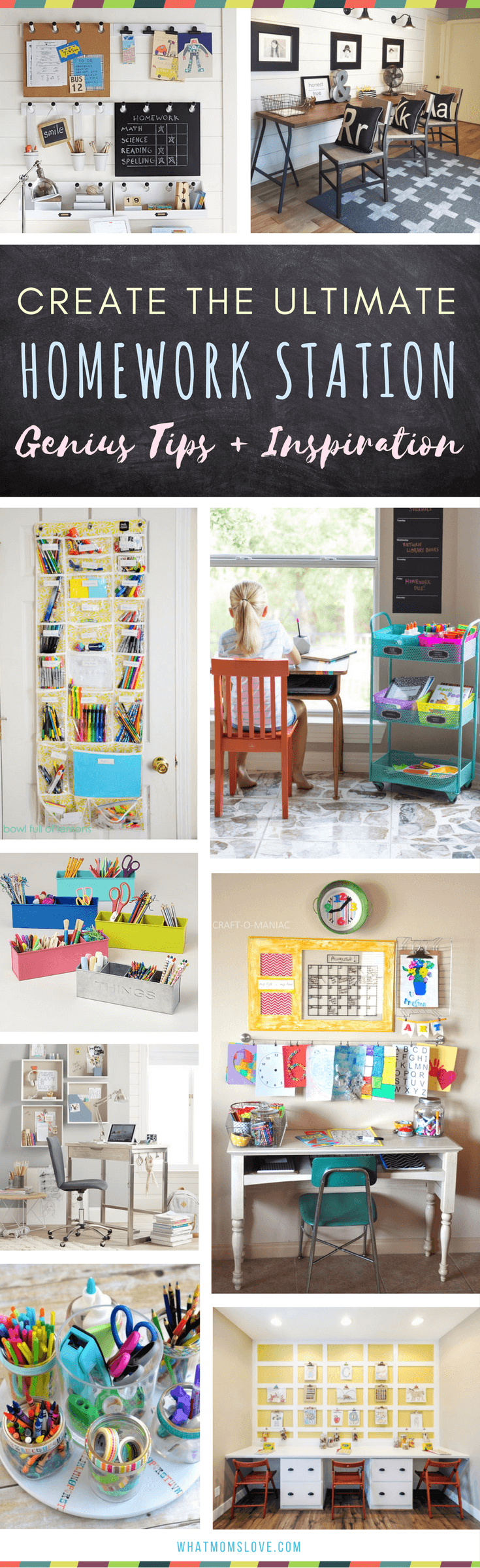 Homework Station for kids | The best organization ideas for how to create a study space at home for elementary school kids to teens. Many are DIY and portable - great for small spaces!