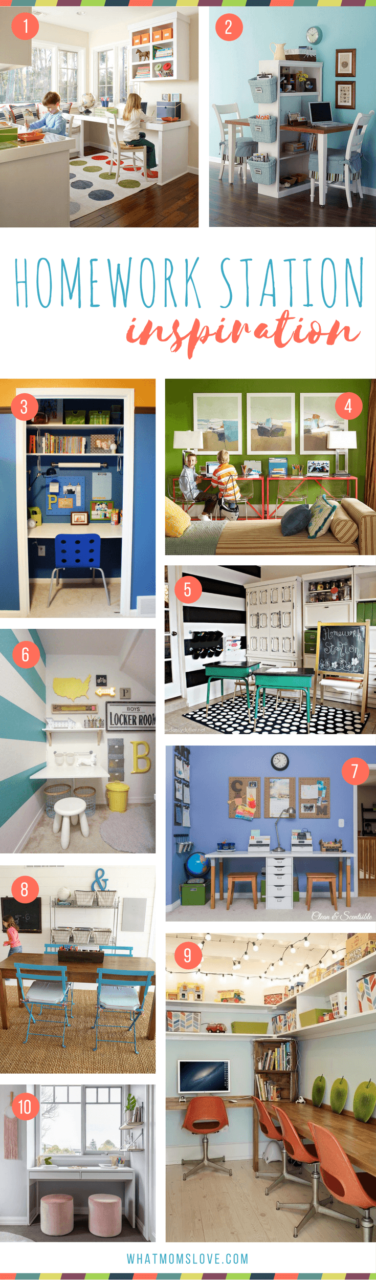 Homework Station Ideas for kids   The best organization tips for how to create a study space at home for elementary school kids to teens. Many are DIY and portable - great for small spaces!