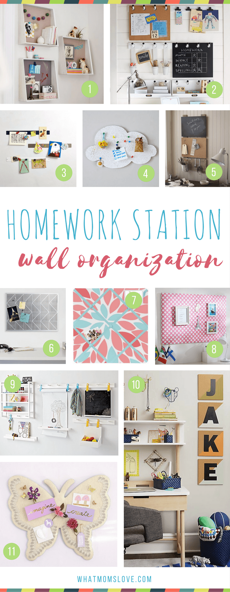 How to make a homework station for kids - wall organization for a study space