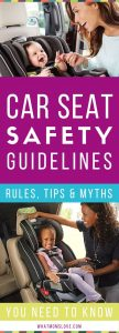 Car Seat Safety Guidelines | Cheat Sheet for what car seat to choose, when to turn your child from rear facing to forward facing, when to use a booster seat, where the chest clips and straps should be positioned and more facts and tips - great infographic for infants, toddlers and older kids