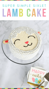 How to Make an Easy Easter Lamb Cake. Simple tutorial and recipe for a super cute sheep cake made without a mold   Easter cake ideas for kids - forget the bunny and chick, this DIY lamb cake is so easy to make and decorate using candy Sixlets!