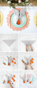 How to make an Easter bunny napkin - little folding and no ring required! These make a fun spring place setting, perfect for your holiday kid table. Great DIY craft for kids and includes a healthy treat too!