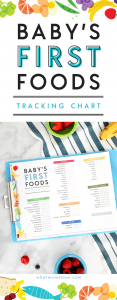 Free Printable Tracking Chart for Introducing Solids | Whether you're starting with purees or baby led weaning, this checklist will give any mom ideas for what to feed your baby, plus helpful tips and best practices for 4-6 month old+ children.