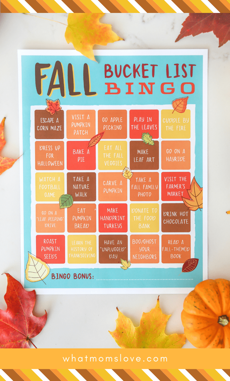 The Best Fall Family Bucket List Ideas Free Printable Bingo Game What Moms Love