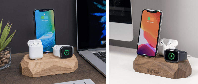 handmade wooden charging station