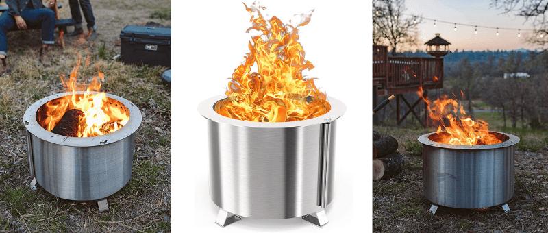 modern stainless steel firepit