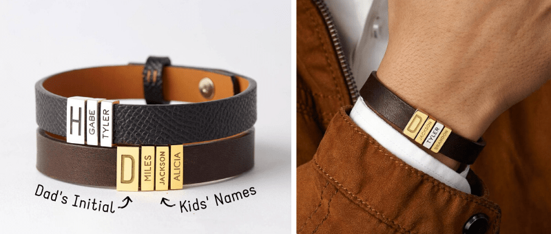 leather bracelet with kids names engraved for dad
