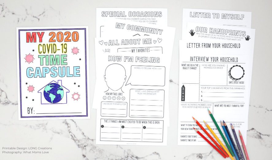 Quarantine Time Capsule Printable Pages for Kids