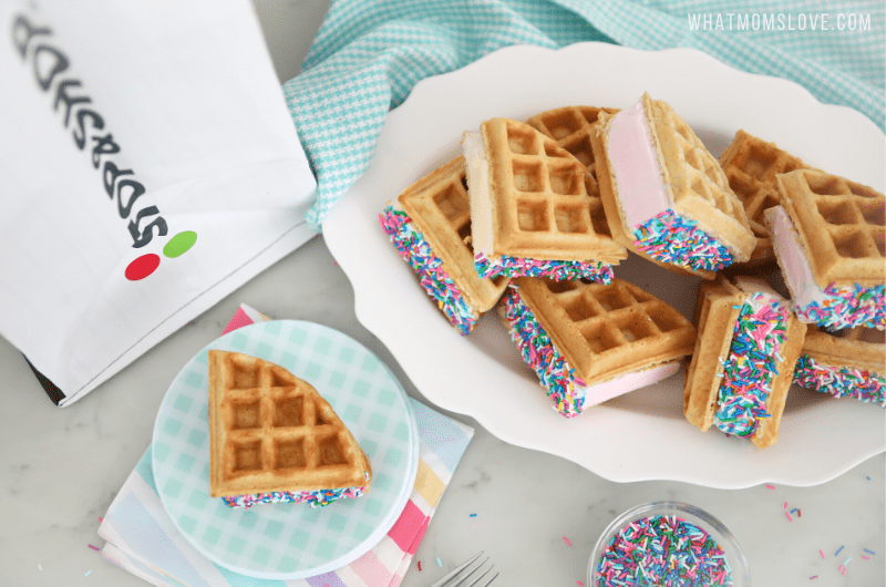 Waffle Ice Cream Sandwiches with sprinkles
