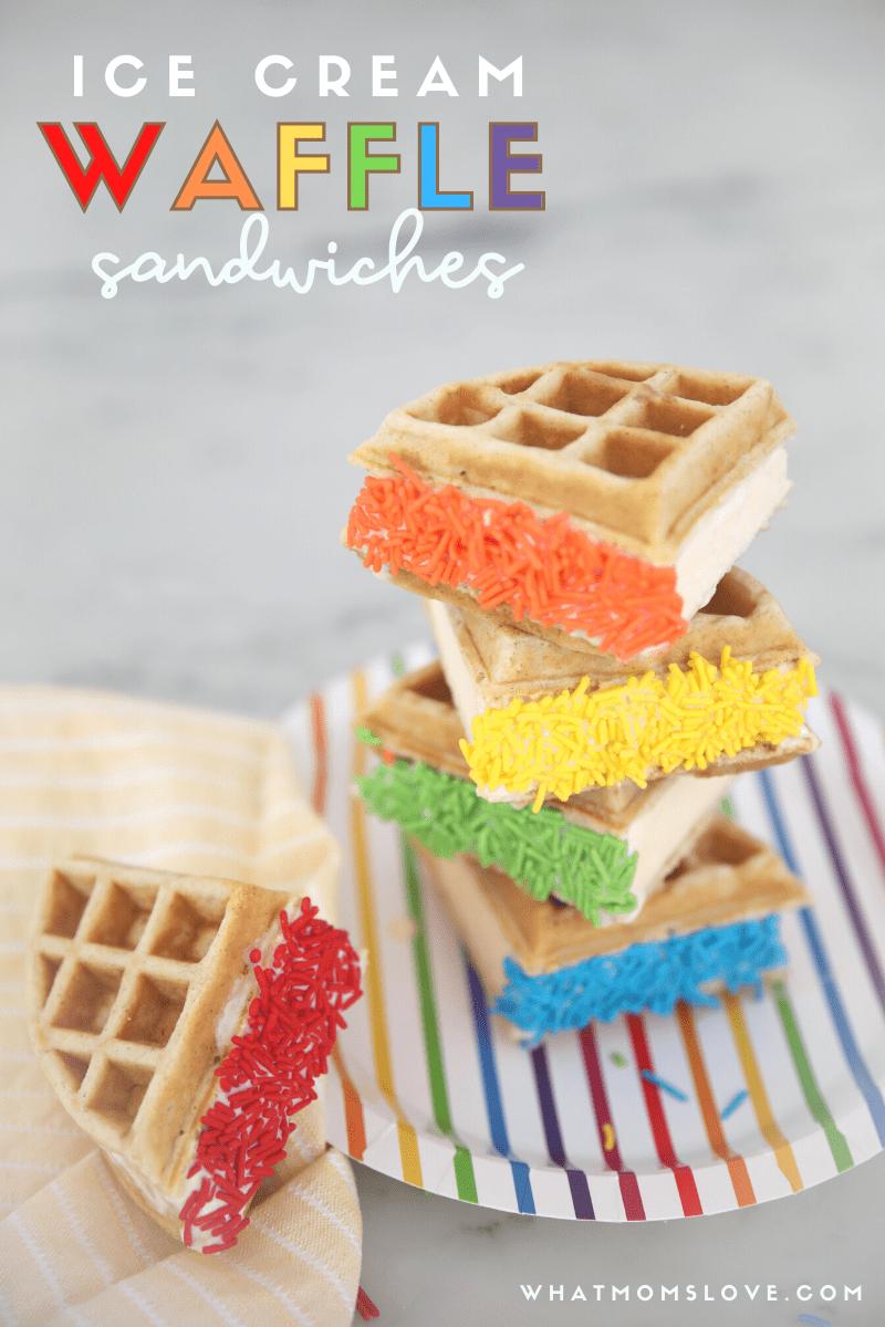 Rainbow Ice Cream Waffle Sandwiches