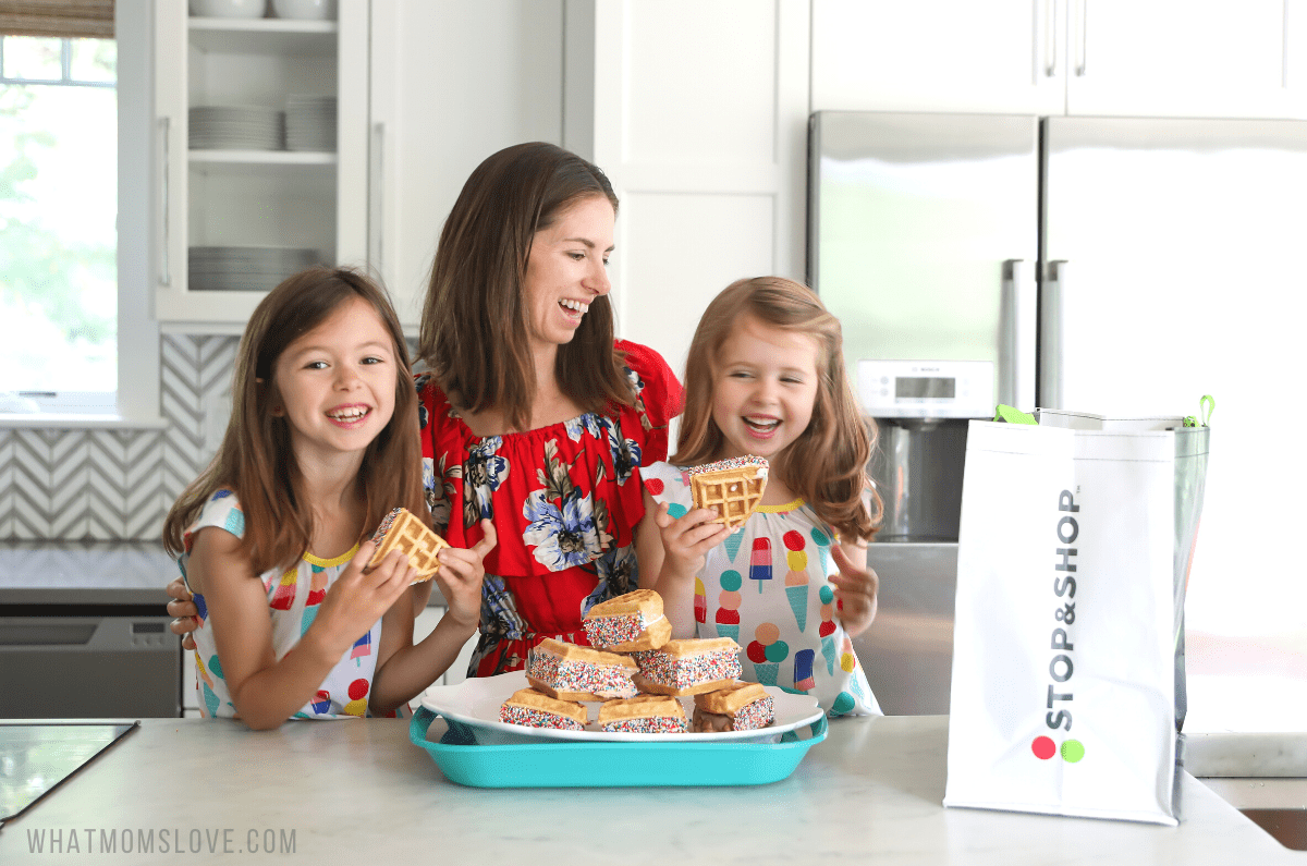 Mom and kids in kitchen with plate of waffle ice cream sandwiches