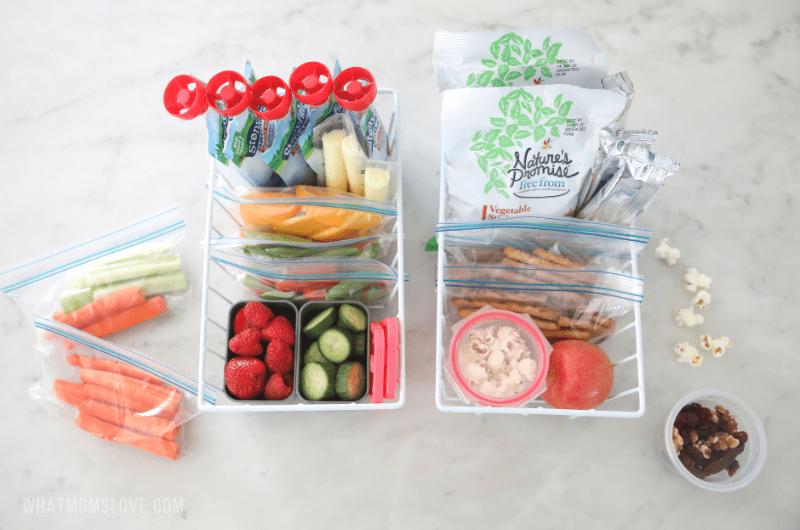 snacks organized in wire caddies