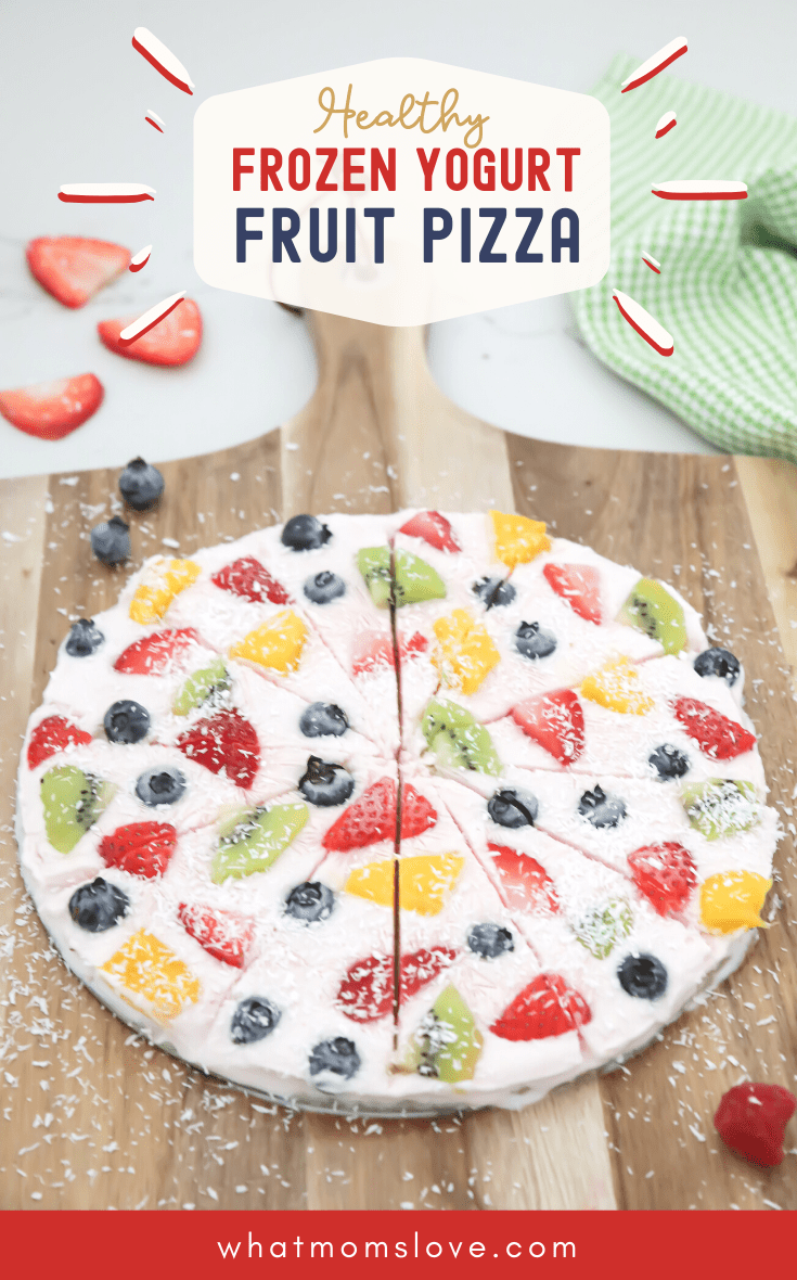 Chunky Monkey Frozen Yogurt Fruit Pizza with bananas and peanut butter
