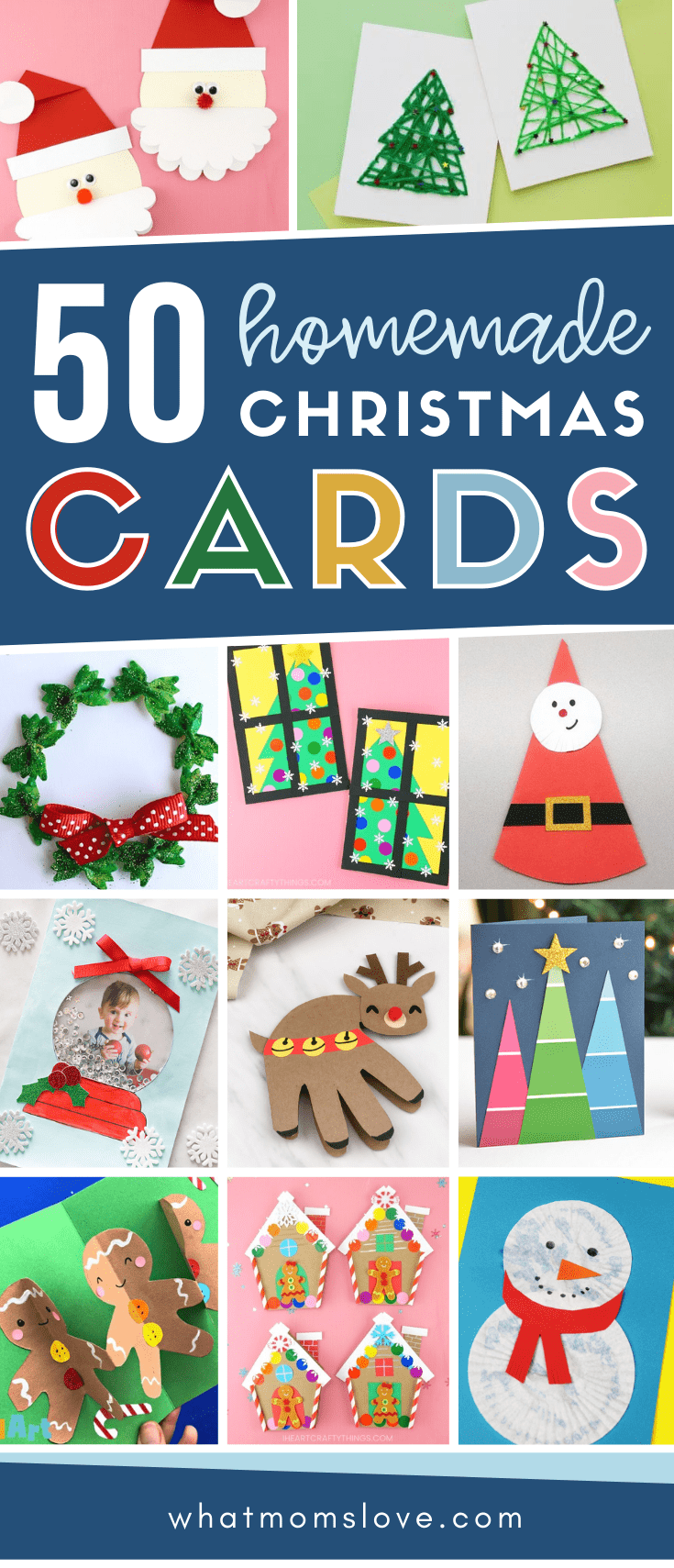 collage of homemade christmas cards kids can make