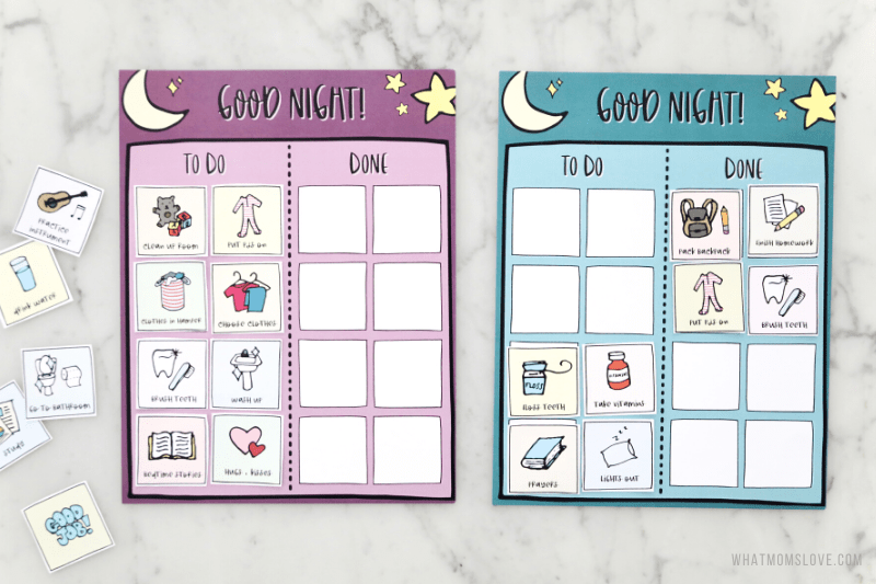 Free Printable Bedtime Routine Chart for Kids