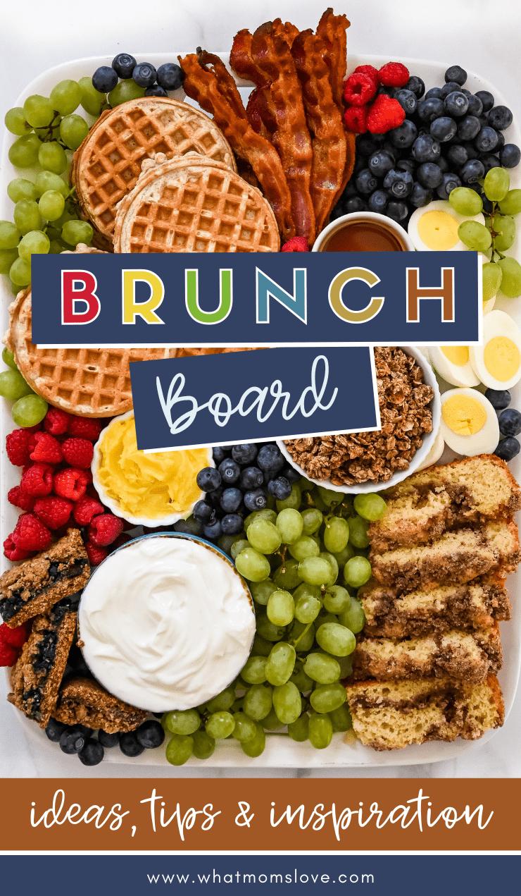 Brunch board with breakfast foods